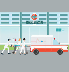ambulance emergency medical evacuation accident vector image vector image