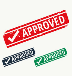 Approved stamp sign in different colors vector