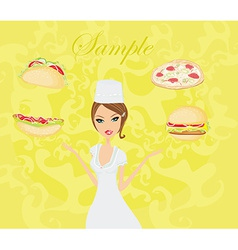 Beautiful lady chef cooking - set food card vector