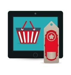 Big sale online technology tablet tag price basket vector
