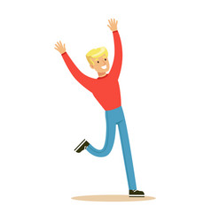 Blond guy in red sweater overwhelmed with vector