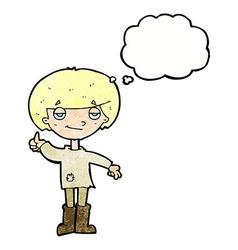 Cartoon boy in poor clothing giving thumbs up vector