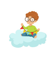 cute little boy sitting on cloud playing with vector image vector image