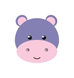 cute little hippo animal character vector image vector image