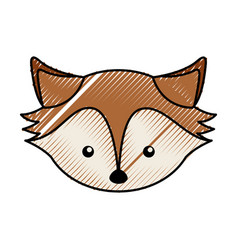 Cute scribble fox face cartoon vector