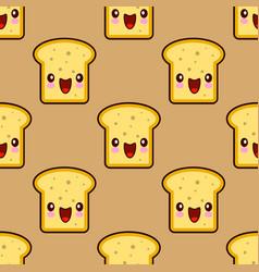 cute toast bread for breakfast smiley kawaii vector image