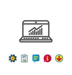 Data analysis and statistics line icon computer vector