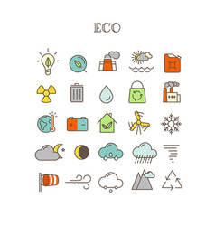 Different thin line color icons set eco vector