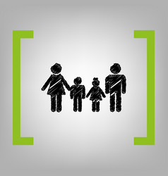 Family sign black scribble icon in citron vector