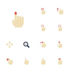 Flat icons single tap sensory hold and other vector