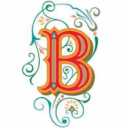 floral letter b vector image vector image