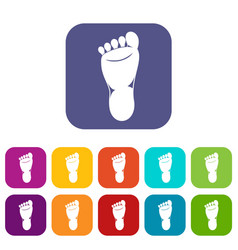 Foot left leg icons set vector