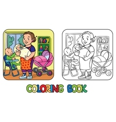 Funny nanny with children coloring book vector