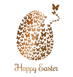 gold easter egg consists of flying butterflies vector image vector image