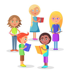group of schoolchildren reads schoolbooks on white vector image vector image
