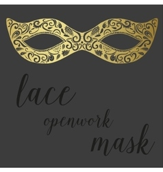 Hand drawn lace openwork gold mask vector