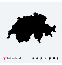 High detailed map of Switzerland with navigation vector image