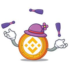Juggling binance coin mascot catoon vector