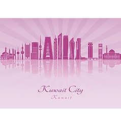 Kuwait City V2 skyline in purple radiant orchid vector image vector image