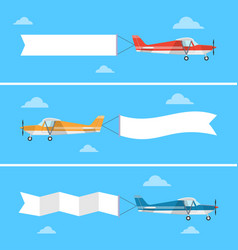 Light plane pulling a banner in a flat style vector