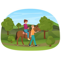 Man leading the horse with the woman riding on it vector