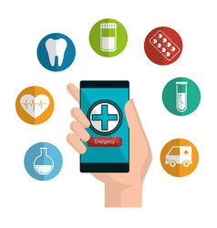 Mobile health technology icons vector