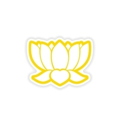 Paper sticker indian lotus on white background vector