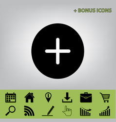Positive symbol plus sign black icon at vector