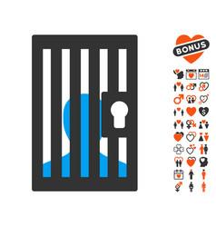 Prison door icon with valentine bonus vector