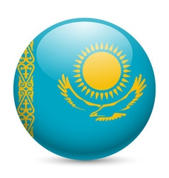 Round glossy icon of kazakhstan vector image vector image