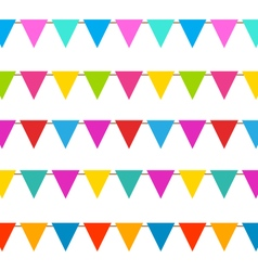 Set hanging bunting pennants colorful decoration vector