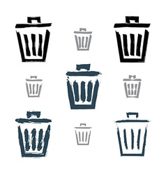 Set of hand-painted simple trash can icons vector