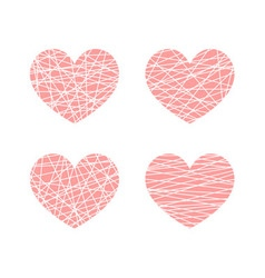 Set of linear stylized hearts symbol of love vector