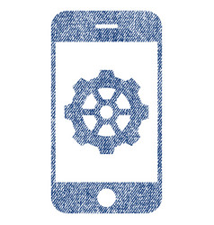 Smartphone options gear fabric textured icon vector
