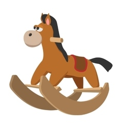 Toy horse with wheels cartoon icon vector image