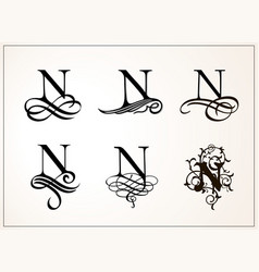 Vintage set capital letter n for monograms and vector