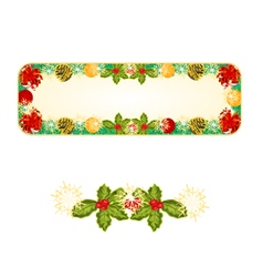 Banner christmas spruce with red ribbons vector