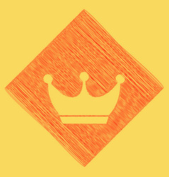 King crown sign  red scribble icon vector