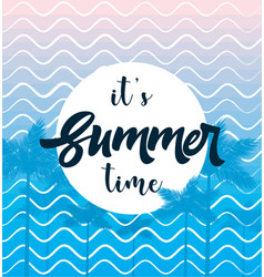 Summer time poste with palm web banner vector