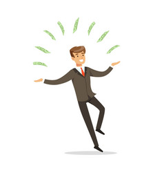 Successful businessman standing and juggling with vector
