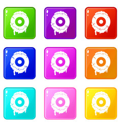 Scary eyeball icons 9 set vector