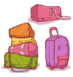 Cartoon of color bags set vector