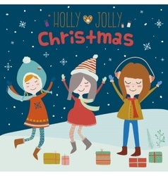 Christmas card with smiling girls vector