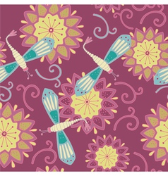 vintage dragonfly floral background vector image