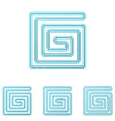 Light blue technology logo design set vector