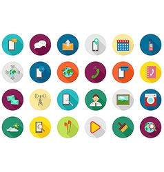 Mobile services round icons set vector