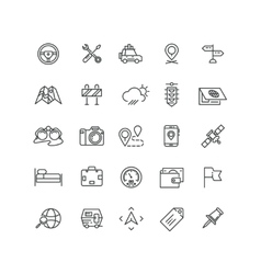Road and auto line icons vector