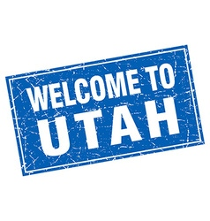 Utah blue square grunge welcome to stamp vector