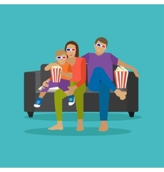 Family eating popcorn and watching movie in home vector