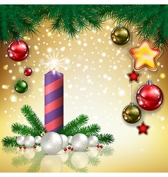 Abstract christmas golden greeting with candle and vector